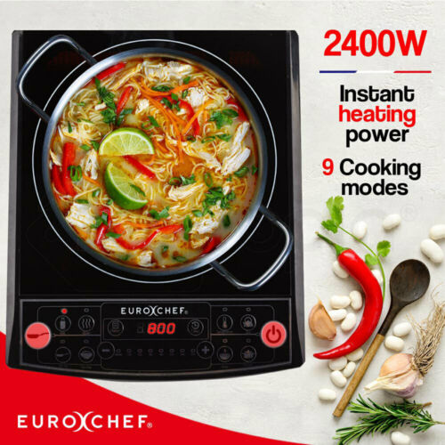 EuroChef Electric Induction Portable Cooktop Ceramic Hot Plate Kitchen Cooker <br/> Full 12 Months Warranty. Free Postage. Energy Efficient