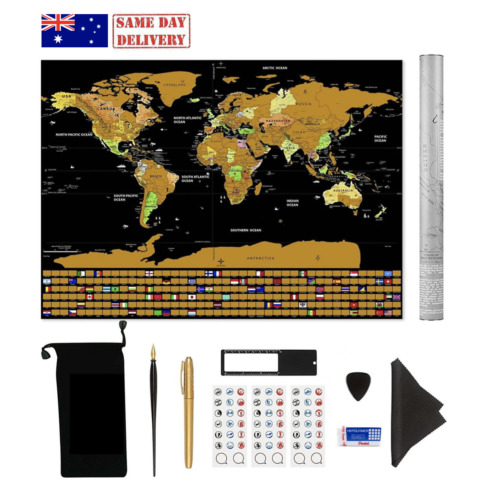 World Scratch Map for Family Kids Children Parents Travellers Wall Decoration