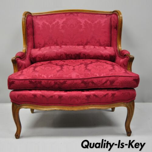 French Country Louis XV Style Carved Mahogany Burgundy Wingback Settee Sofa