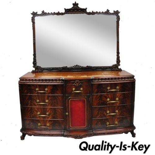 Chinese Chippendale Flame Mahogany Triple Dresser Chest & Mirror Detroit Furn.