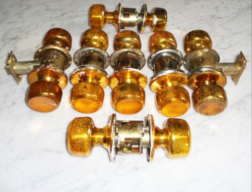 Set of 7 Vintage National Lock Co Bright Copper /Gold Door Knob Plate Cover Sets
