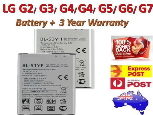 Brand New High Capacity BATTERY FOR LG G2 G3 G4 G5 G6 G7 + 3 Year AU WARRANTY