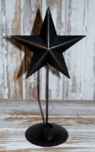 """Primitive Country Black Tin Star 12"""" Tapered Candleholder Sconce"""