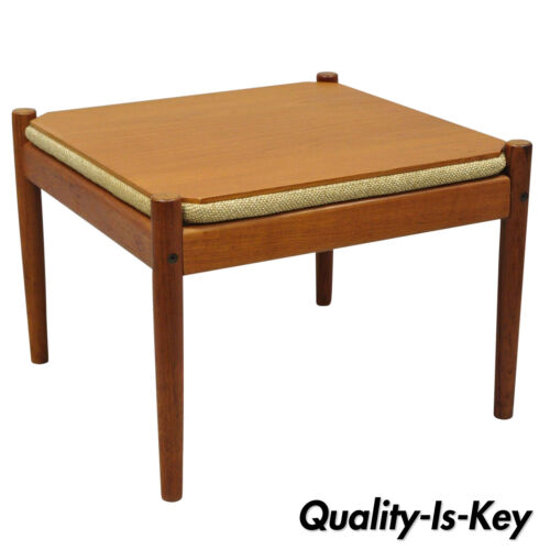 Flip Top Mid Century Danish Modern Convertible Teak Side Table Stool Ottoman