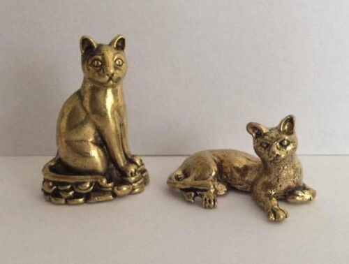 LOT 2 x statuetta ottone amuleto animale GATTO CAT Cambogia Asia a2
