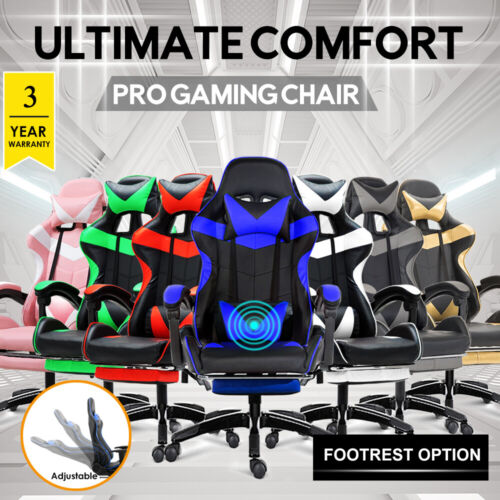 Gaming Chair Office Computer Seating Racing PU Executive Racer <br/> 7 Colors✓ Footrest included.