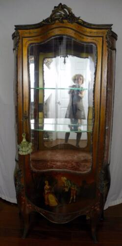 19th Century French Vernis Martin style vitrine Curio Cabinet Signed CH. Olivier