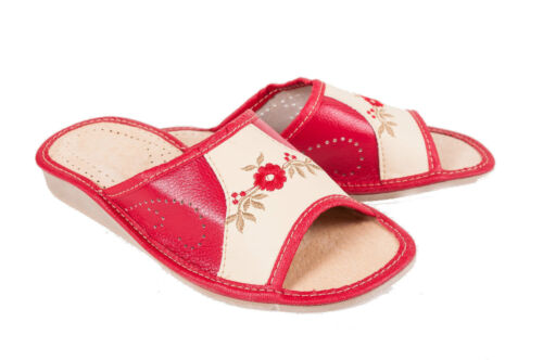 Womens 100% Eco Leather Slip On Sandals Slippers Ladies Mule Beach Red & Cream