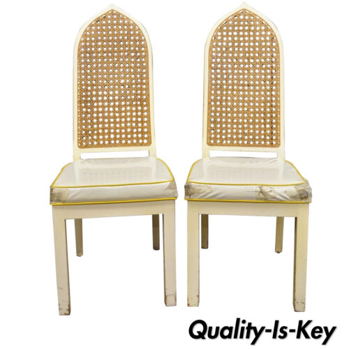 Pair of Bedell Vintage Hollywood Regency Cane Back Pagoda Dining Side Chairs (B)