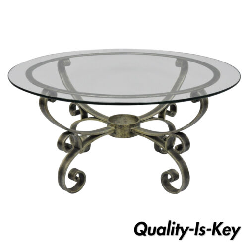 Vintage Scrolling Iron & Round Glass Top Hollywood Regency Silver Coffee Table