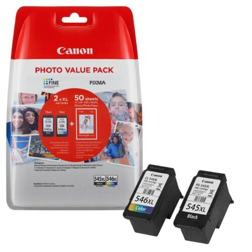 KIT 2 CARTUCCE CANON ORIGINALI PG-545XL CL-546XL BK COL + 50 CARTA FOTO 10X15