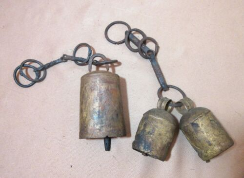 lot of 3 antique 1800's hand forged wrought iron steel primitive cow bells