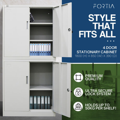 AVANTE Stationary Cabinet Office Metal Lockable Storage Cupboard Locker 4 Door <br/> Tubular Cam Locks/ Adjustable Shelves/ 2 Keys Per Lock