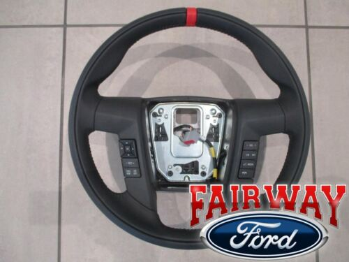 11 thru 14 F-150 OEM Ford Leather Red Accent Steering Wheel w/ Switches RAPTOR <br/> Brand New OEM Genuine Ford Parts from a Ford Dealership