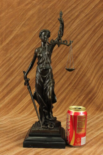 """Large 17"""" Heavy Solid Bronze Lady Blind Justice Statue Lawyers Themis Deal Decor"""