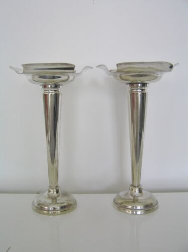 Antique Vintage Silver Plated Matching Pair Tall Trumpet Vases