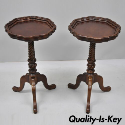 Pair of Small Cherry Wood Queen Anne Style Pedestal Candle Stand Side Tables