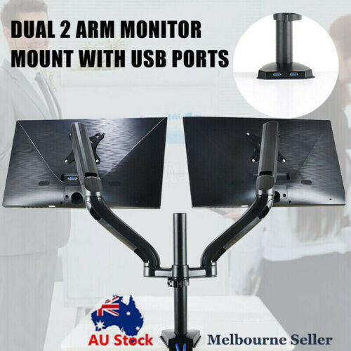 Dual Arm Monitor Stand two USB Ports HD LED LCD TV Holder Spring Desk Mount