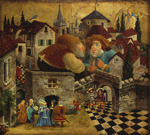 James CHRISTENSEN Two Men in Conversation Attempting to Put Things LE art canvas
