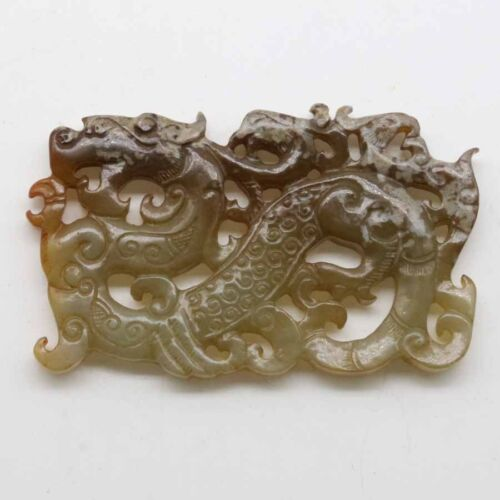 Chinese culture hand carved jade pendant with connected phoenix and dragon C136