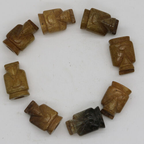 8pcs collected Chinese hand-carved jade Weng Zhong figurine bracelet C635