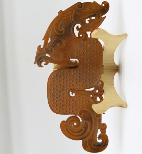 Chinese hand carved jade openwork arc-shaped with grains Chi dragon figure D253