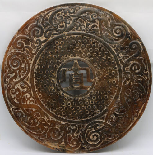 Chinese culture hand carve jade openwork Bi Disc with Chi dragon grains D234