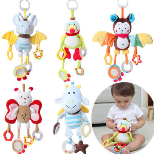 1Pc Soft Plush Toy Lovely Animal Shape Baby Bed Stroller Hanging Bells Toys PF