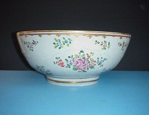 Antique Chinese Bowl Hand Painted Enameled Flowers