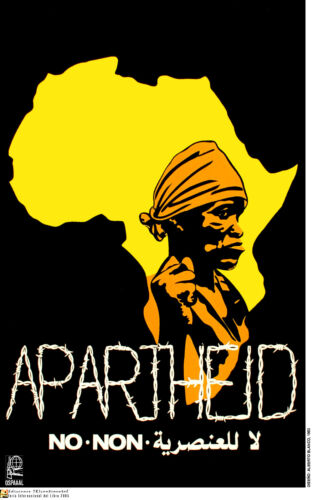 Political OSPAAAL POSTER.No APARTHEID.African Revolution Africa History art.62