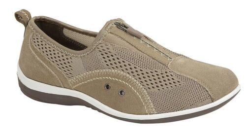 Boulevard L372 Ladies Taupe Leather And Textile Mesh Zip Up Elasticated Trainer