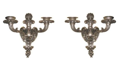 Pair Large French Rococo Louis XVI Style Silvered Bronze Sconces