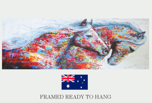 "47"" x 16"" Running Horse Canvas Painting framed Poster Wall Art Print Home Decor"