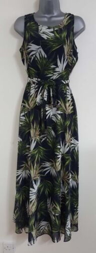 EX New DP Billie & Blossom Multi Palm Print Summer Long Maxi Dress Size 8-16