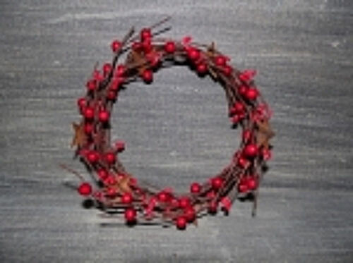 """6"""" Red Berry RIng Rusty Stars Pip Berry Candlering Primitive Country"""