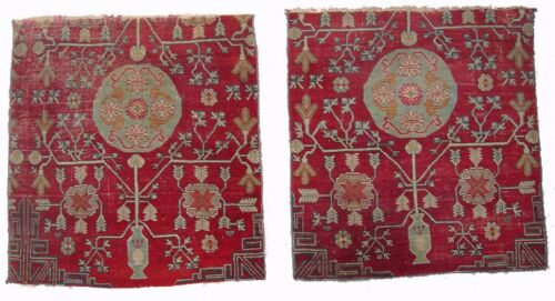 A Pair of Antique Decorative Square Rug Fragments