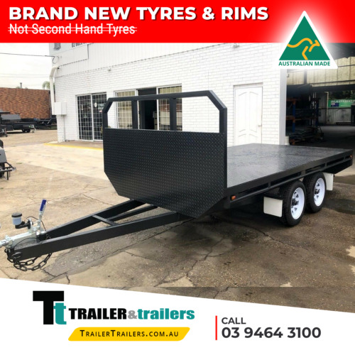 12X7 TANDEM AXLE BASIC FLAT TOP/FLATBED/TABLE TOP TRAILER  HEADBOARD  NEW TYRES