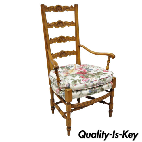 Vintage French Country Provincial Style Shell Carved Tall Ladder Back Arm Chair