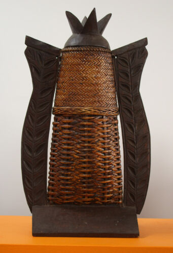 Sale Unusual Filipian Wooden and Basket Weave Container $99