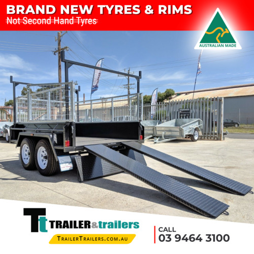 10x5 TANDEM AXLE HEAVY DUTY ALL-PURPOSE TRAILER + CAGE + RACKS +RAMPS+NEW WHEELS