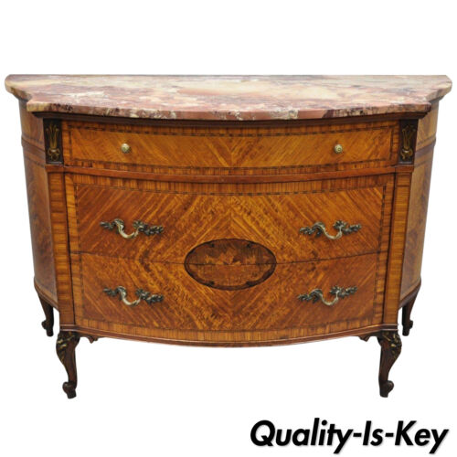 Early 20th C French Louis XV Style Demilune Pink Marble Top Bombe Commode Chest