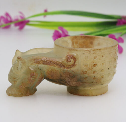 Chinese hand carved jade wine cup with cloud-shaped beast head handles D385