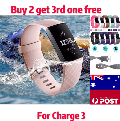 Replacement Fitbit Charge 3  Silicone Watch Wrist Sports Band Strap Wristband