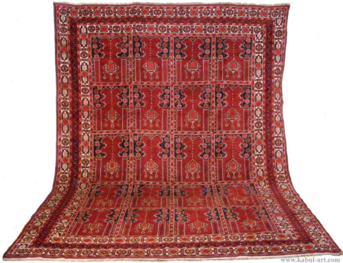 11.3x8.5 feet Antique islamic Beshir Turkmen Mosque prayer rug Saf Gebetsteppich