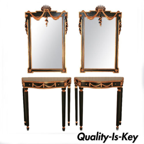 Pair French Neoclassical Style Black Gold Console Tables & Mirrors Jansen Style