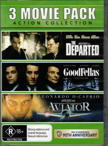 3 Movie Pack DVD COLLECTION The Departed + GoodFellas + The Aviator NEW & SEALED