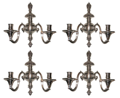 Set Four Silverplated Bronze Sconces in Regency Style