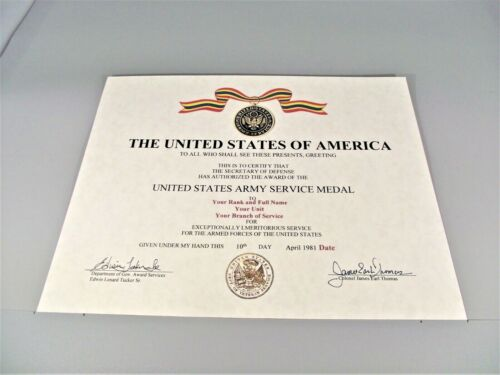 U.S. Army Service Medal Replacement CertificateMedals, Pins & Ribbons - 104024