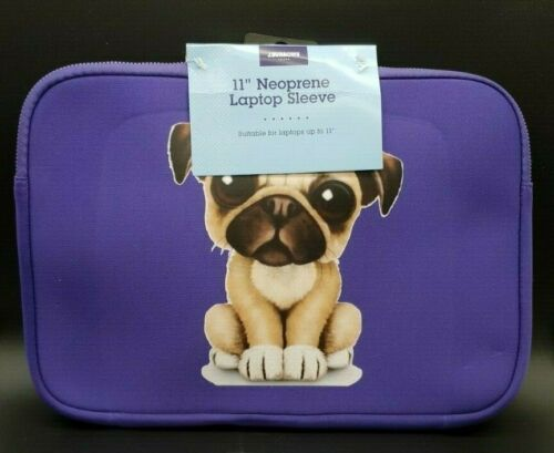 BNWT Zippered Neoprene Purple Customised Pug Carry Case Sleeve Laptop 11 Inch