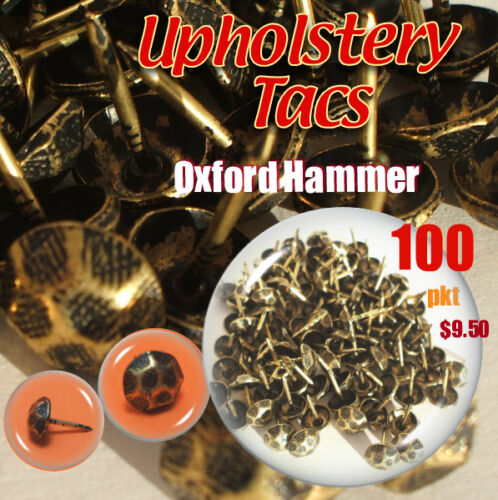 100 Vintage Antique Studs Brass Pins Tacs 11x16mm for Upholstery Leather Sofa